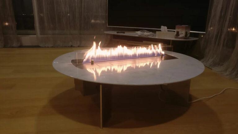 Журнальный столик со встроенным биокамином.