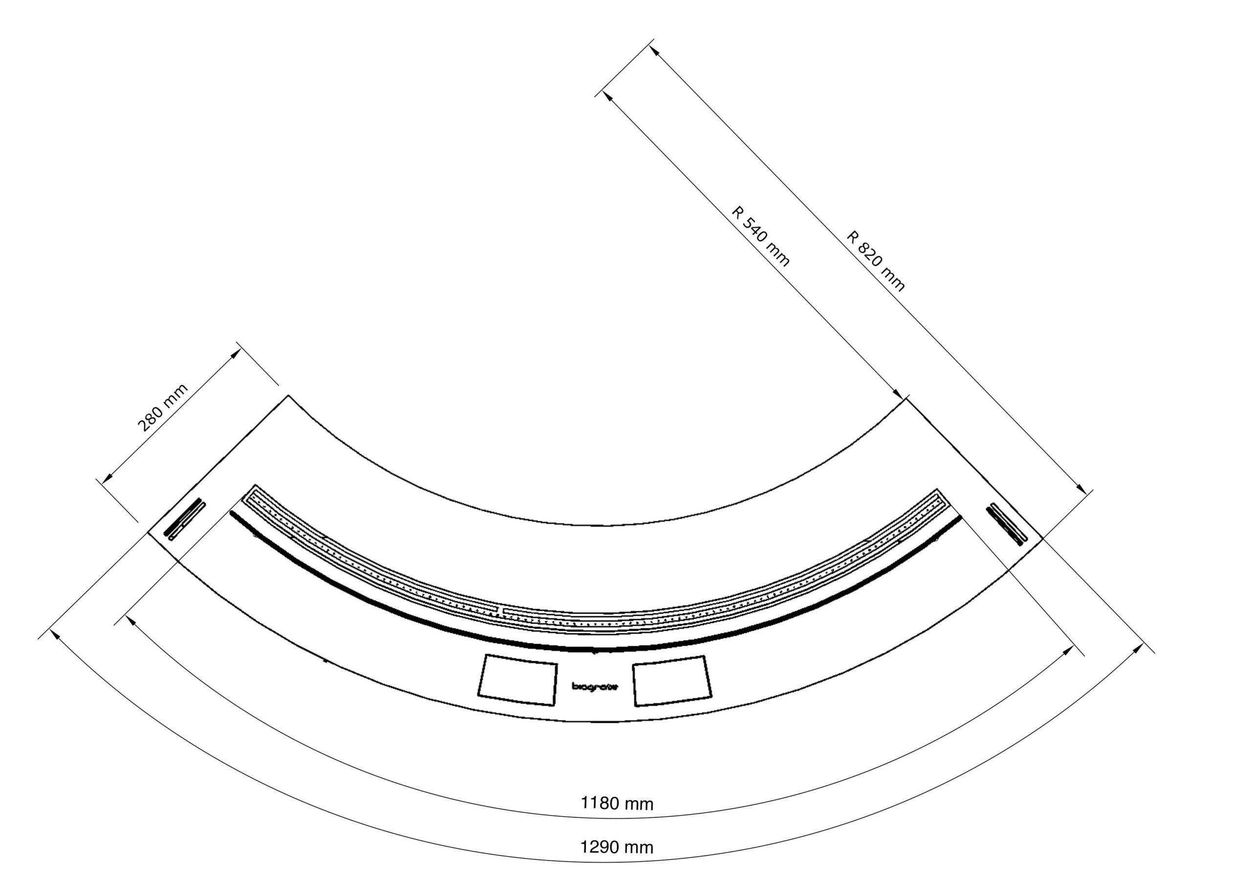 Чертеж автоматического изогнутого биокамина Biograte SmartFire L 1300 curve