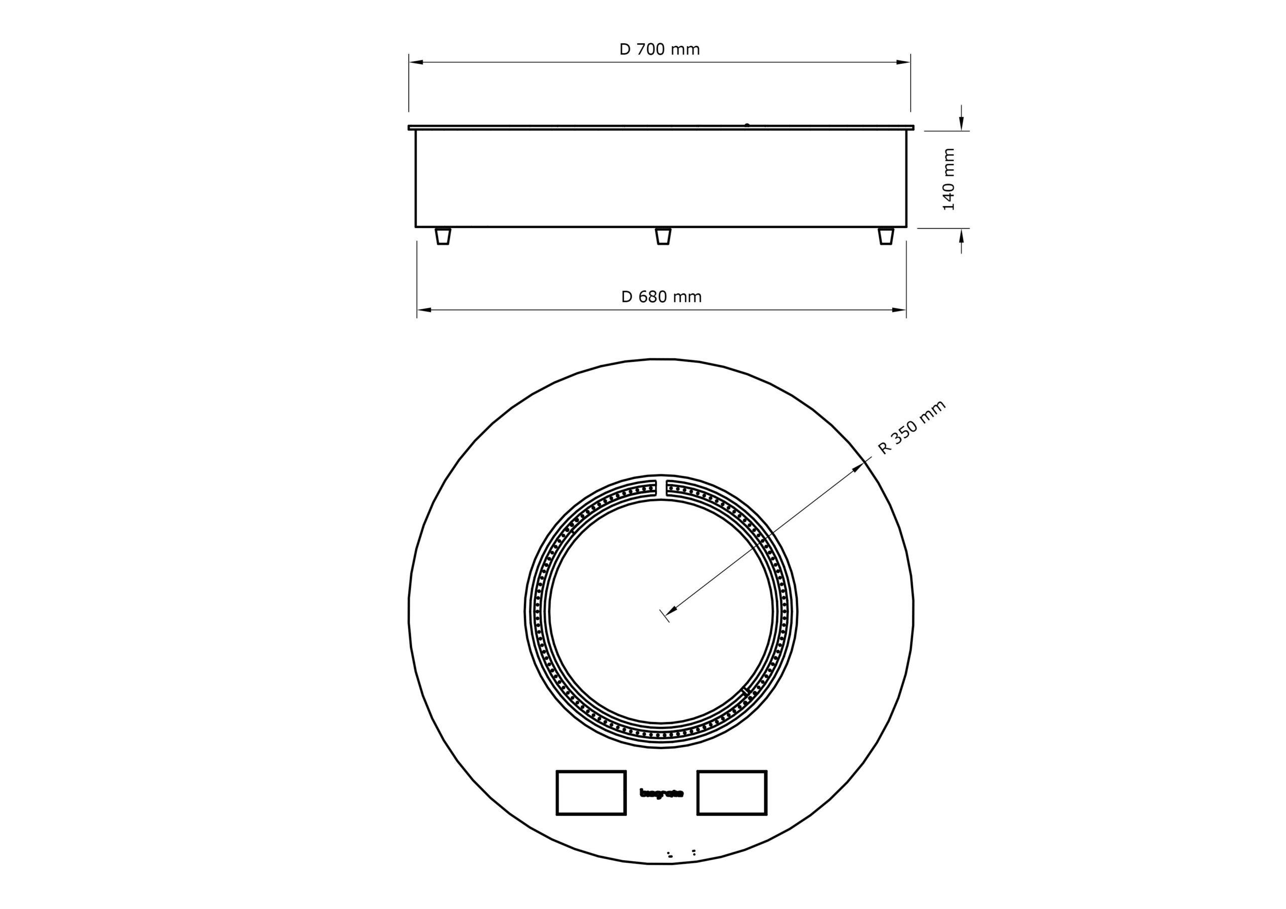 Чертеж круглого автоматического биокамина SmartFire round